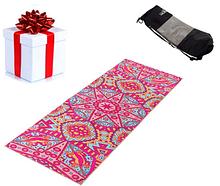 Коврик (мат) для йоги и фитнеса PVC + замша 173 * 61 * 3 мм розовый, чехол в подарок