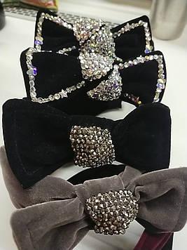 Красивый обруч чалма бант велюровый для волос объемный с камнями  модный 1 шт