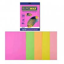 Набор бумаги д / печати цвет. А4 5 Когда. 20арк BUROMAX микс NEON 80г / м2 (1/150)