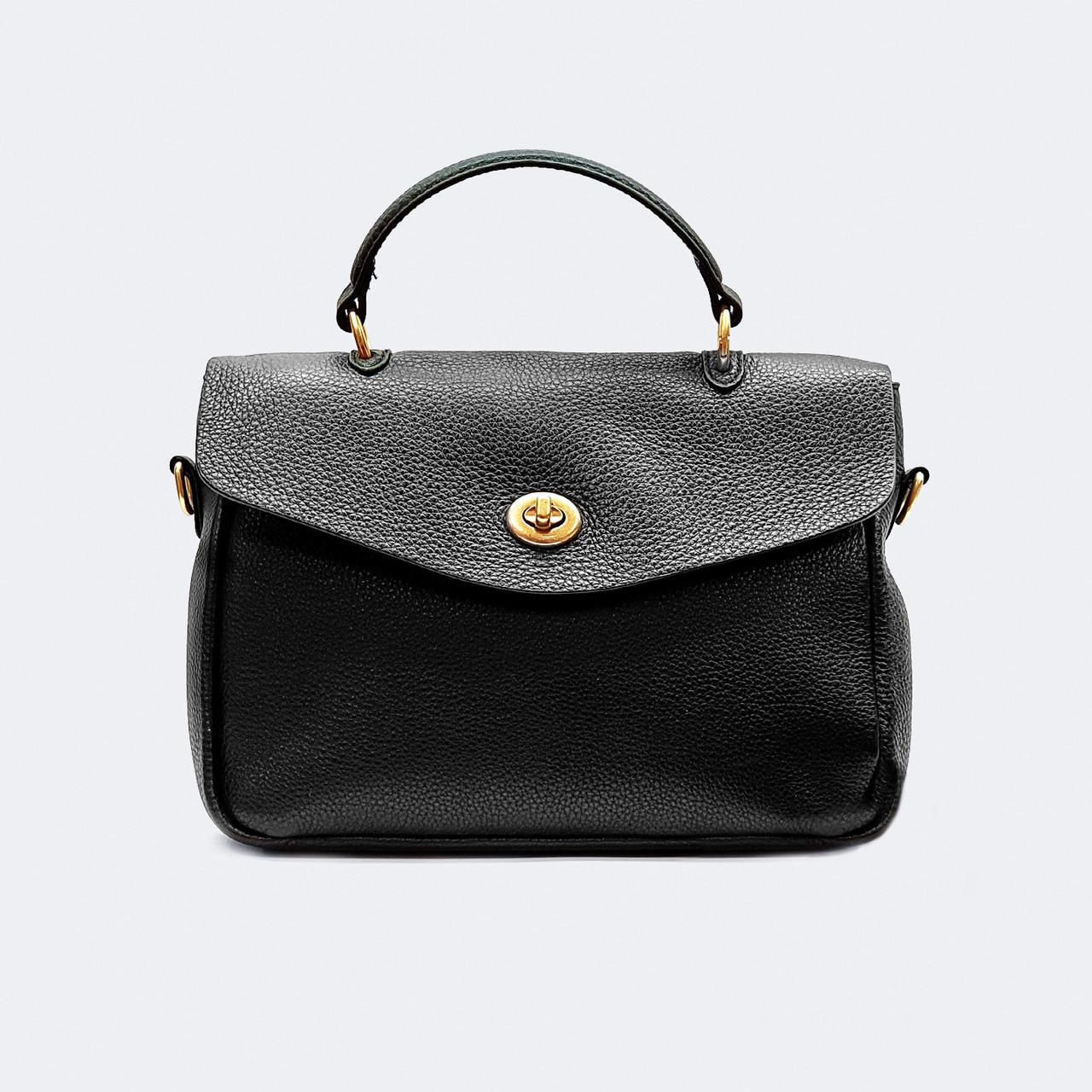 Модная женская черная сумка кожаная средняя 9919