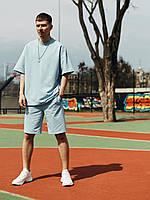Комплект молодіжний чоловічий бавовняний шорти+футболка+панама ніжно-блакитний