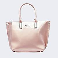 Модная женская розовая сумочка кожаная большая 678