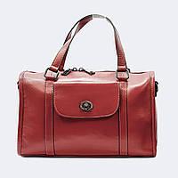 Модная женская красная сумочка цилиндр кожаная 9901