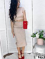 Женская облегающая вельветовая юбка миди с разрезами по бокам Беж