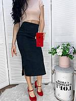 Женская облегающая вельветовая юбка миди с разрезами по бокам Черный