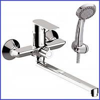 Смеситель для ванной с душем длинным изливом однорычажный хром Haiba Alex 006 Euro