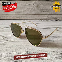 Мужские солнцезащитные очки, модные золотистые очки авиатор от солнца Polaroid, капли, качественные очки