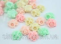 """Кабашон """"букетик"""" в пастельных тонах, 15*15 мм, цвет нежно-зелёный (ментоловый)"""