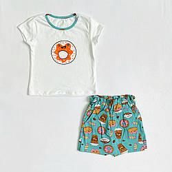 Річний комплект футболка і спідниця-шорти для дівчинки про