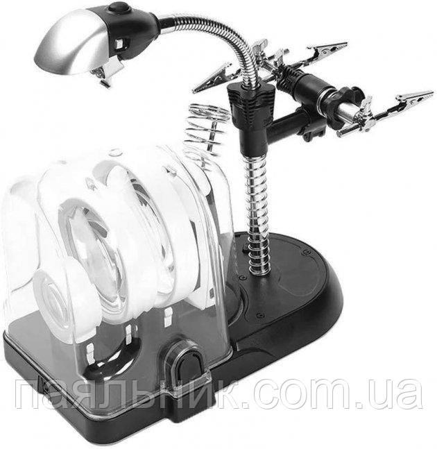 Лупа Третя рука 2.5 X-90 мм 5X-75 мм 16X-37 мм з LED підсвічуванням, утримувачем для плат і паяльника MG7761