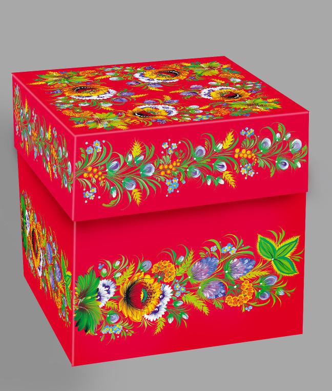 Подарункова коробка з Петриківським розписом червона