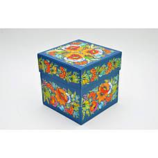 Подарункова коробка з Петриківським розписом червона, фото 3