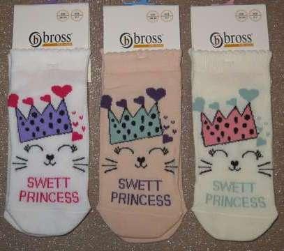 Набір 3 шт. Шкарпетки дитячі укорочені з малюнком бавовняні Bross кішечка принцеса
