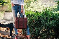 Женская деловая кожаная сумка ручной работы