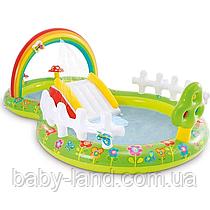 """Дитячий надувний ігровий центр з гіркою """"Мій сад"""" Intex 57154"""