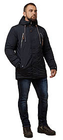Черно-синяя мужская парка зимняя на кнопках модель 43015 (ОСТАЛСЯ ТОЛЬКО 50(L))