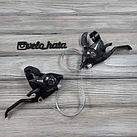 Манетки моноблоки Shimano 3х8 пара переключателей для велосипеда (Комплект переключателей шимано 3х8)