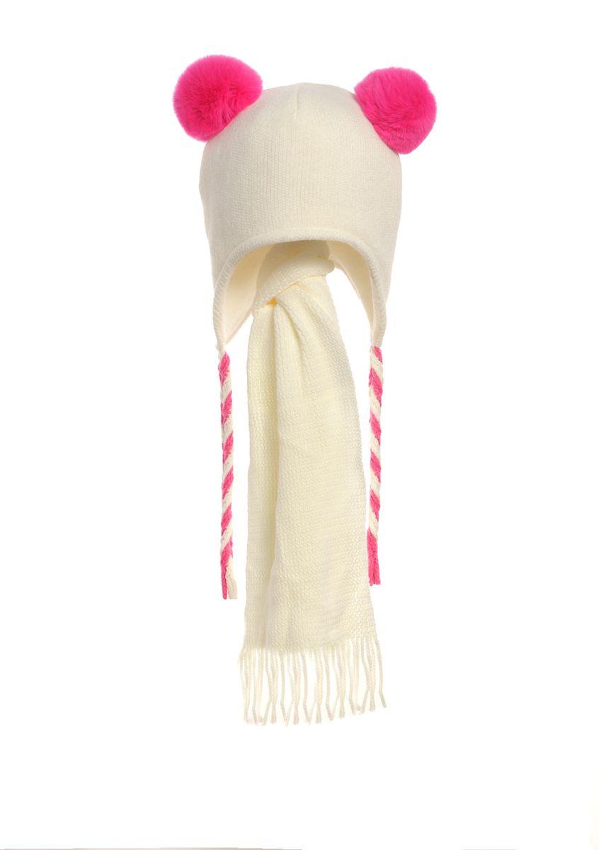 Детская зимняя вязаная шапочка, утепленная флисом, с  шарфиком
