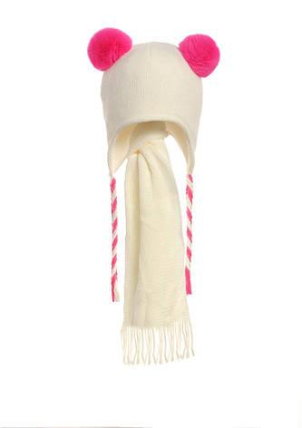 Детская зимняя вязаная шапочка, утепленная флисом, с  шарфиком, фото 2