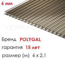 Сотовый поликарбонат Polygal 6 мм бронза 2,1х6 м
