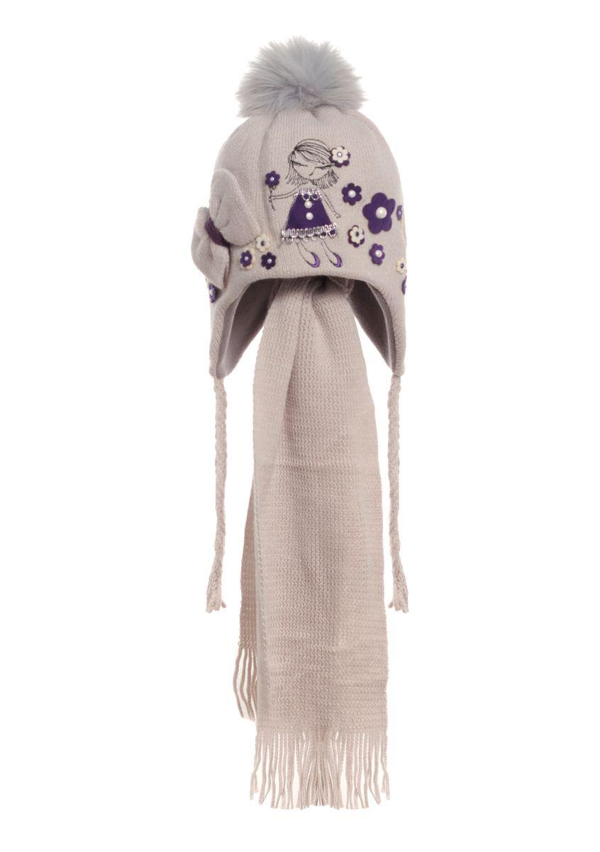 Детская вязаная шапочка, утепленная флисом, с узором из бусинок и шарфиком