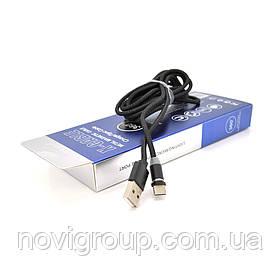 Магнітний кабель PiPo USB 2.0 /Lighting, 1m, 2А, тканинна оплетка, броньований, знімач, Black, BOX