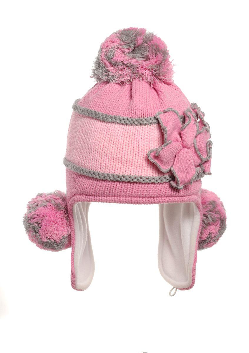 Утепленная флисом зимняя детская шапочка, украшенная оригинальным цветком.