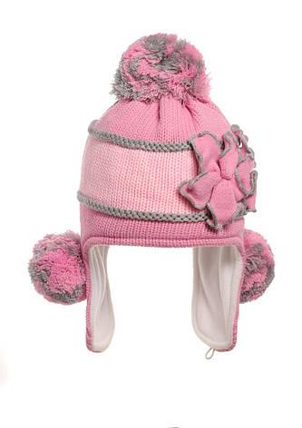 Утепленная флисом зимняя детская шапочка, украшенная оригинальным цветком., фото 2
