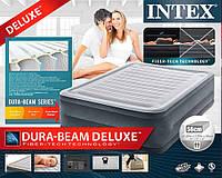 Надувная кровать-матрас Intex 64418, встроенный электронасос. Двухспальная 152 х 203 х 56