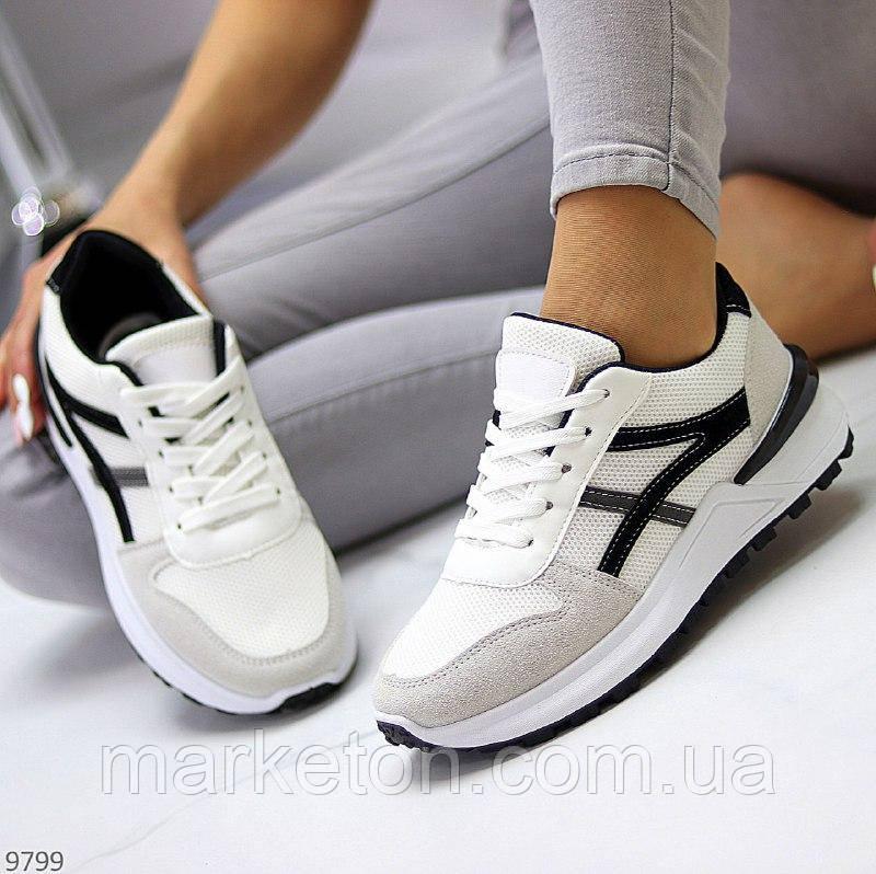 """Жіночі повсякденні кросівки Білі з чорним """"Gvaj"""""""
