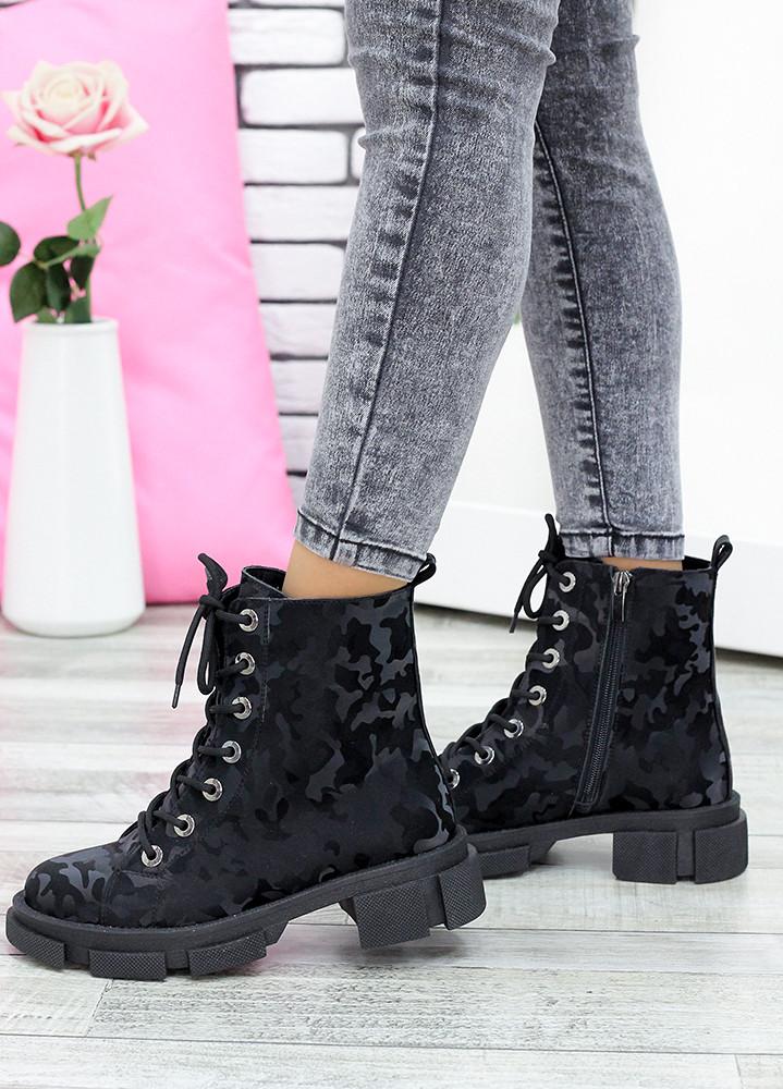 Бомбические черные кожаные женские ботинки-берцы с рисунком, размеры от 36 до 40