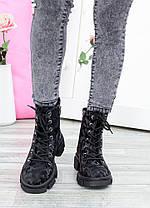 Бомбические черные кожаные женские ботинки-берцы с рисунком, размеры от 36 до 40, фото 2