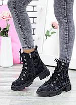 Бомбические черные кожаные женские ботинки-берцы с рисунком, размеры от 36 до 40, фото 3