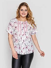 Белая блузка женская из софта в цветочный принт, большие размеры от 52 до 58