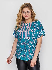 Летняя хорошенькая блузка с коротким рукавом цвет синий в цветочек, большие размеры от 52 до 58