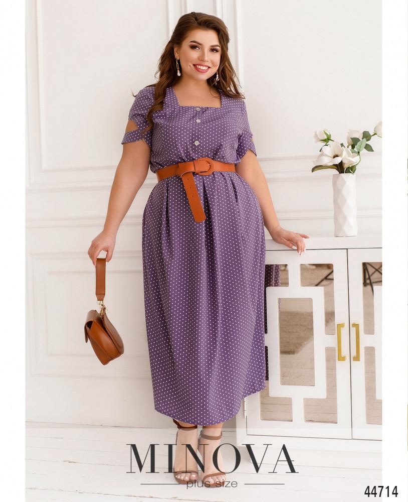 Лавандова плаття довге з софта в горошок, великих розмірів від 50 до 68