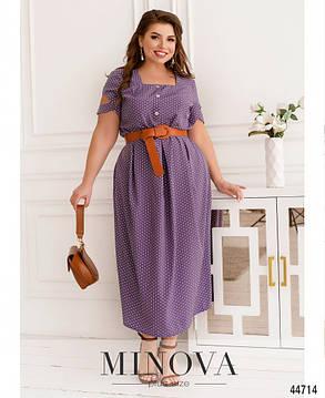 Лавандова плаття довге з софта в горошок, великих розмірів від 50 до 68, фото 2