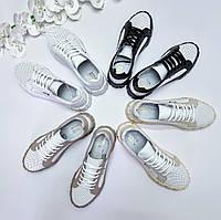 Стильные кеды кроссовки из перфорированной кожи натуралки размеры 36-41 грубая подошва