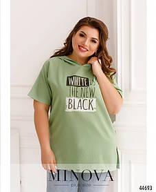 Модная туника нежно-зеленого цвета украшенная принтом, большие размеры от 50 до 64