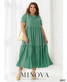 Интересное широкое свободное платье из софта цвет зелёный, больших размеров от 52 до 66