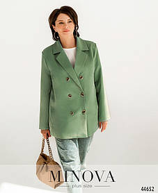 Класичний жіночий піджак подовжений з костюмки кольору тіффані, великих розмірів від 50 до 64