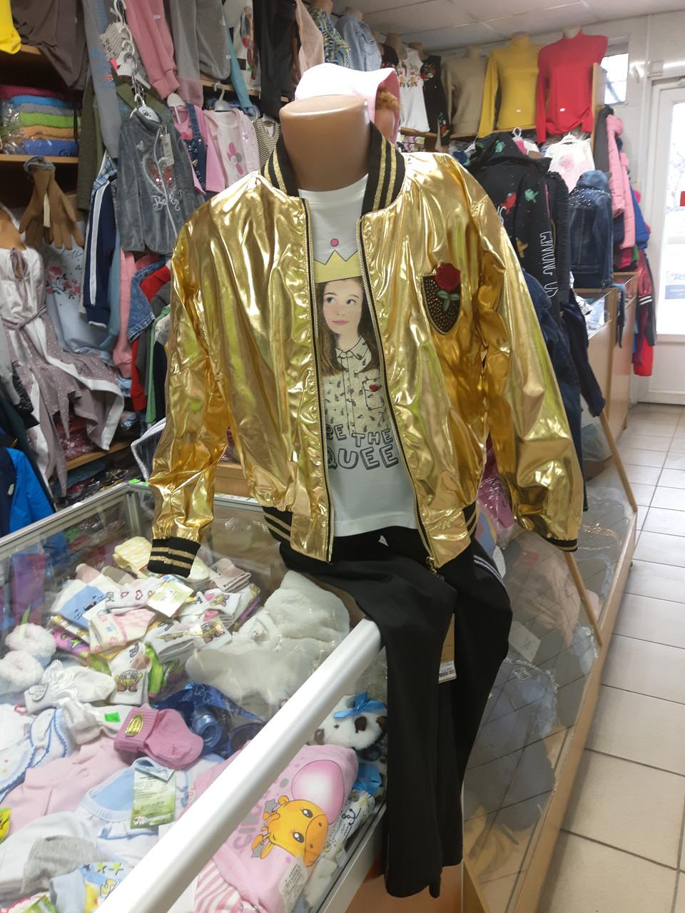 Куртка Кожаная бомбер для девочки р.98 - 146