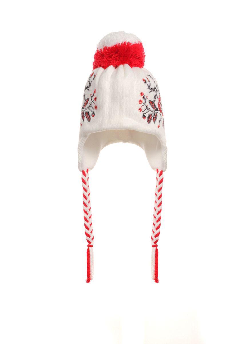 Детская красивая  вязаная шапочка с оригинальным ярким помпоном