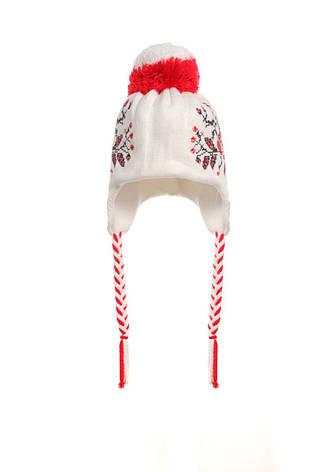 Детская красивая  вязаная шапочка с оригинальным ярким помпоном, фото 2