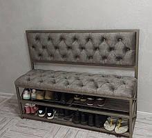 """Банкетка в прихожую """"Capitone"""": банкетка со спинкой, с полками для обуви."""