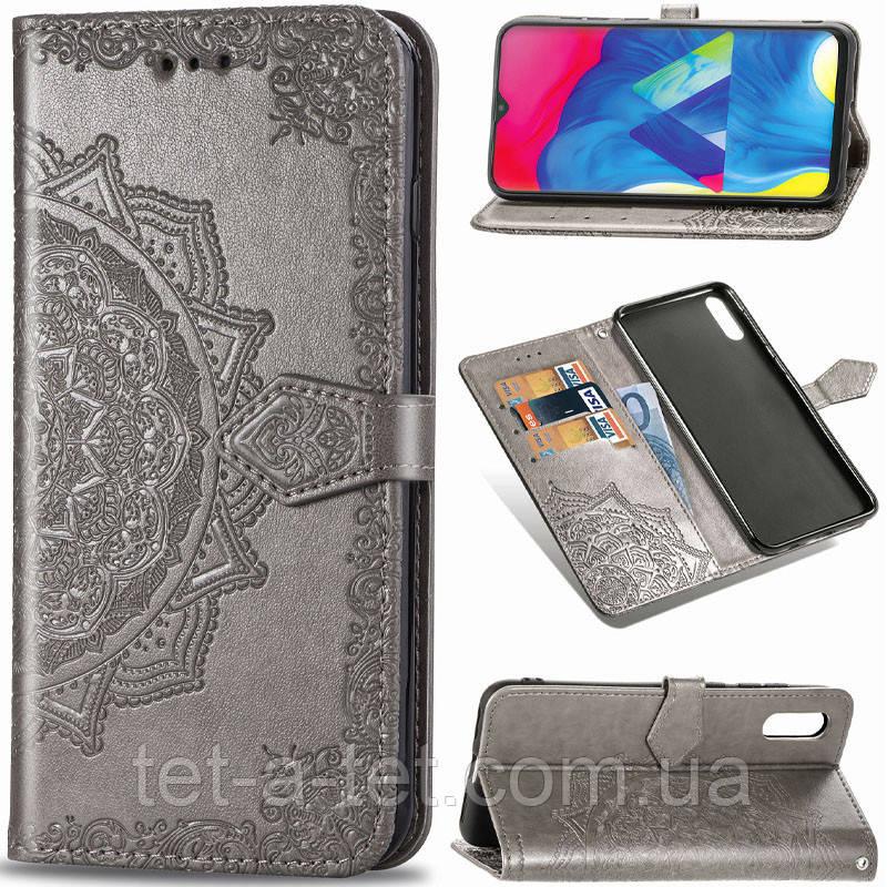 Кожаный чехол (книжка) Art Case с визитницей для Samsung Galaxy A02 - Серый