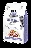 Корм для кошек Brit Care GF Cat Sterilized Weight Control (утка и индейка), 2 кг