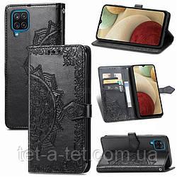 Кожаный чехол (книжка) Art Case с визитницей для Samsung Galaxy A12 - Черный