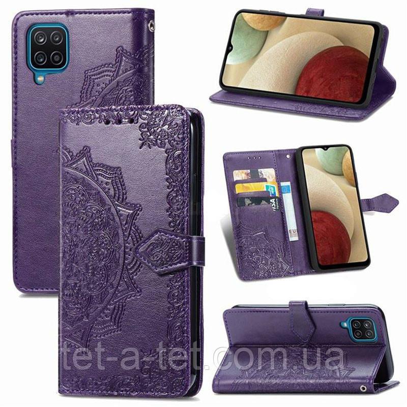Шкіряний чохол (книжка) Art Case з візитницею для Samsung Galaxy A12 - Фіолетовий