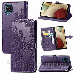 Кожаный чехол (книжка) Art Case с визитницей для Samsung Galaxy A12 - Фиолетовый